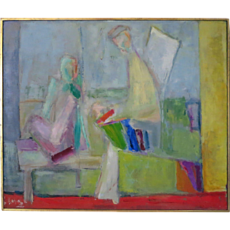 "Rose Kuper (1888-1987) Abstract Modern Cubist Dated 1959 Title ""Progeny"" New York California"