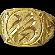22 kt Gold Man's Thai ring Size 10 1/2