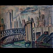 Original Chicago artist Hazel Cuthburt w/c c. 1930s