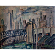 Original Chicago Skyline by artist Hazel Cuthburt w/c c. 1930s