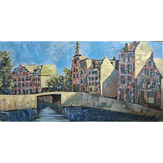 "Large Org John Linn oil painting ""Dutch Canal Scene"" Holland Mid Century"