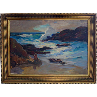 Marian Williams Steele1912 - 2011 Large Oil Laguna Beach California Dated 1944