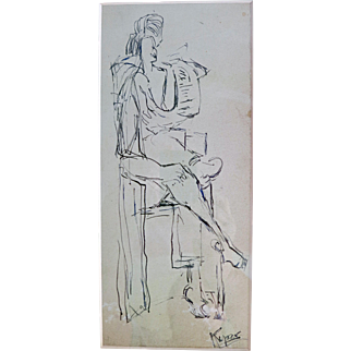 Rose Kuper Pen and Ink drawing circa 1950s
