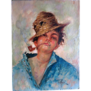 Italian Oil by L. Rossi Young Man or Boy
