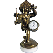 Very Nice Antique French Bronze Clock with Cherub playing a drum and trumpet
