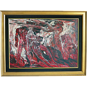 Rare Emile Kosa Jr Modernist Oil of the Devil and Nude Men in Hell