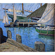 J.D. Crocker Maine Artist Original Oil Sailing Boats