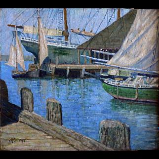J.D. Crocker Maine Artist Original Oil Sailing Boats