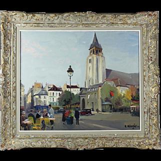 """Constantin Kluge (1912–2003) Oil on Canvas """"St Germain Des Pres"""""""
