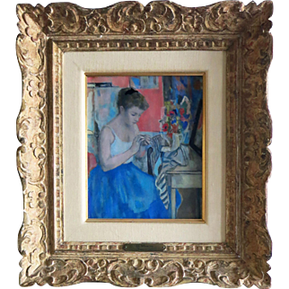 F. Gall ( Francois Gall)  Org. oil Hungarian French Lady Sewing
