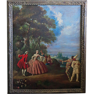 Large Antique Oil of Romantic Sceen with Pierrot and Harlequin