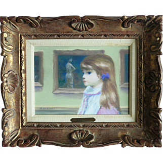 Andre Gisson (1921 - 2003) Young Girl at the Museum