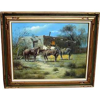 Western Oil Painting of Horses by an Adobe Dwelling (Style of Frank Tenney Johnson)