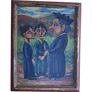 Vintage Spanish Primitive painting of Priest and Woman Talking