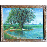 """Alois Lecoque  (1891 - 1981) Original ol on canvas """"The Red Boat"""" 1953"""