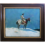Original Western, Indian, Horse Enamal Painting by Well Listed Artist Max Karp