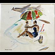 Alexandra Christine Bradshaw  (1888 - 1981) Original Watercolor Beach Scene