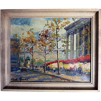 Charles Blondin Oil on Canvas French Paris Flower Market