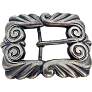 Vintage Heavy Mexican Sterling Silver Belt Buckle