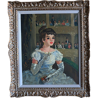 Francois Gerome French Post- Impressionist Oil Painting Madeleine at the Paris Opera Gilt Wood Frame