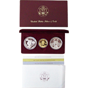 U.S. Olympic 3 Coin Set 1984 Commemorative 2 Silver Dollars & $10 GOLD Proof Set