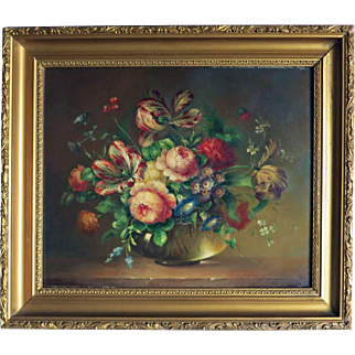 Dorthy G. Cooper  Flemish style style oil on canvas, circa 1900.