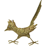 Vintage 18 Kt Yellow Gold Roadrunner with Diamond Eye