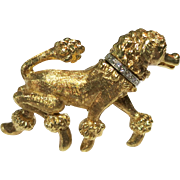 Vintage 14 Kt Yellow Gold Poodle Pin with Diamond Collar