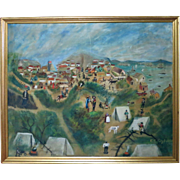 Large Antique primitive oil painting of Old San Francisco