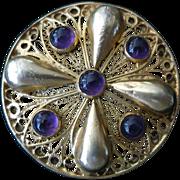 Etruscan-style Pin by Figly Di Vittorio Franconeri di Lidia Franconeri & C. Designer 800 silver