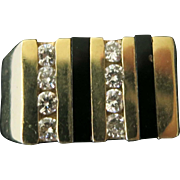 14 Kt Man's Diamond and Onyx Ring
