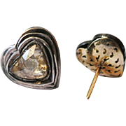Vintage Hearth Shaped Rose Cut Diamond Earrings
