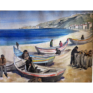 Vintage Greek Fishing Village water color