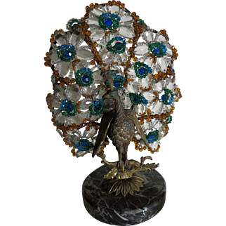 Original Czech Crystal Glass Lamp Bronze Art Deco Peacock Lamp