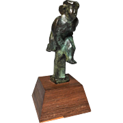 Chaim Gross American 1904-1991 Rare Bronze Sculpture Girl Pole Vaulter Sports