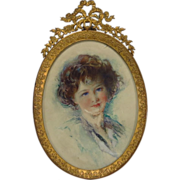 Beautiful Young Girl Portrait Miniature French Bronze Frame