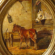 19th Century Oil Painting Mare and Foal in Stable By Adolf Nowey