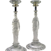 Antique Pair Baccarat Candlesticks Classical Woman Sculpture  For A.