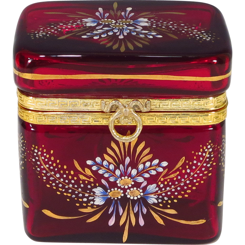 Antique French Ruby Red Glass Enameled Casket Dore Bronze Mounts