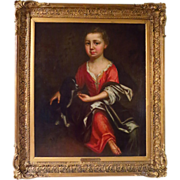 Reserved For C Large Oil Portrait Child and Spaniel Mid 19th Century