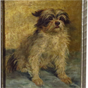 Terrier Dog Oil Portrait Signed Minna Stocks