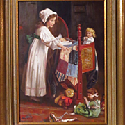 Young Girl With Dolls Oil Painting Signed P. Musin