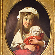 19th Century Oil Painting Young Girl White Dog Gilt Frame