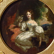 Young Woman Holding Bird Oil on Panel Painting