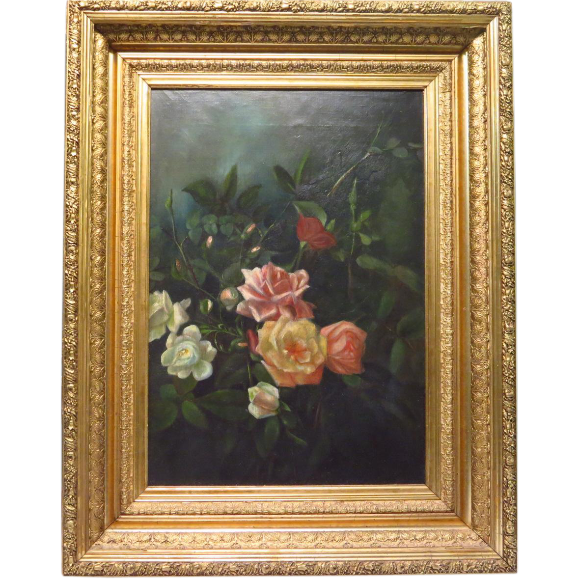 victorian oil painting of roses ornate gesso frame from