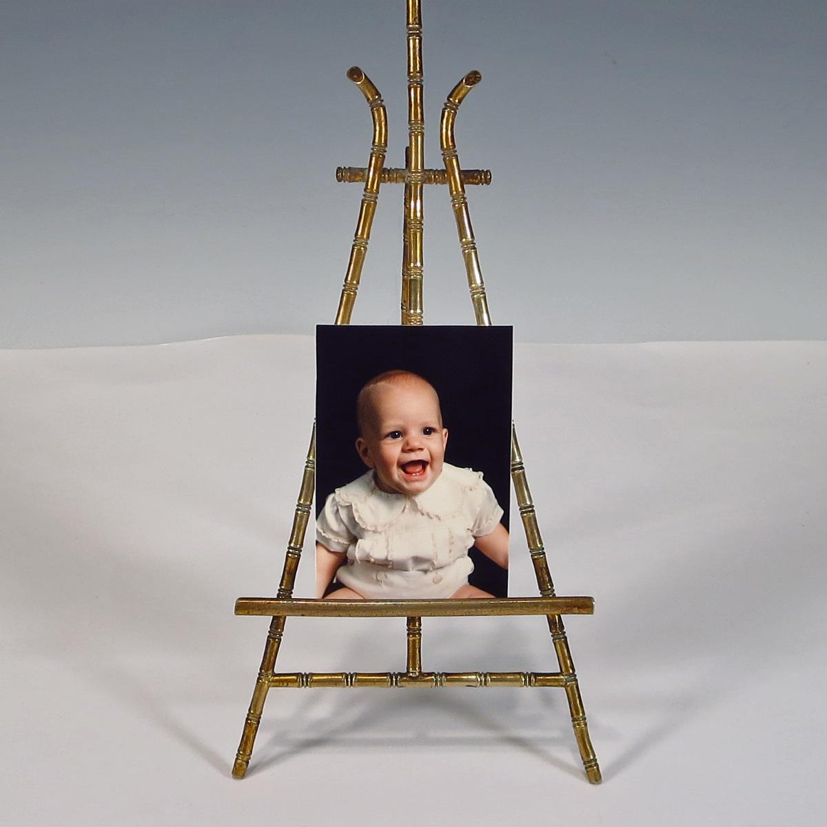 Miniature Doll House Brass Faux Bamboo Easel From