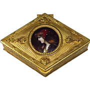 Antique French Limoges Enamel Miniature Bronze Box Casket
