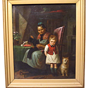 19th Century German Oil Painting Genre Scene Grandma and Grandson