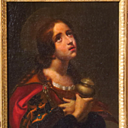 19th Century Religious Oil Painting Mary Magdalene After Carlo Dolci  For A.
