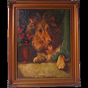 Scottish Collie Dog Portrait Signed Dated 1920